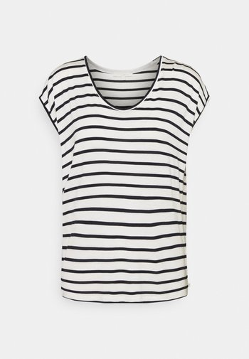 STRIPED RELAXED TEE - Print T-shirt - navy/white