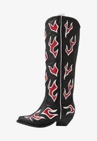 Kozačky nad kolena - black/white/red