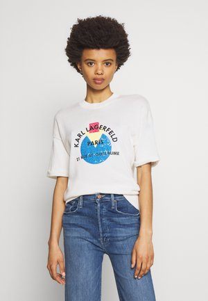 SHORT SLEEVE SEQUINS LOGO - T-shirt print - off white