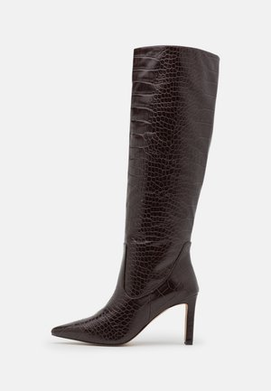 POINTY LOOSE SHAFT BOOTS - High heeled boots - chocolate