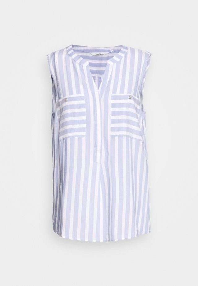BLOUSE STRIPED - Bluzka - bleu/offwhite