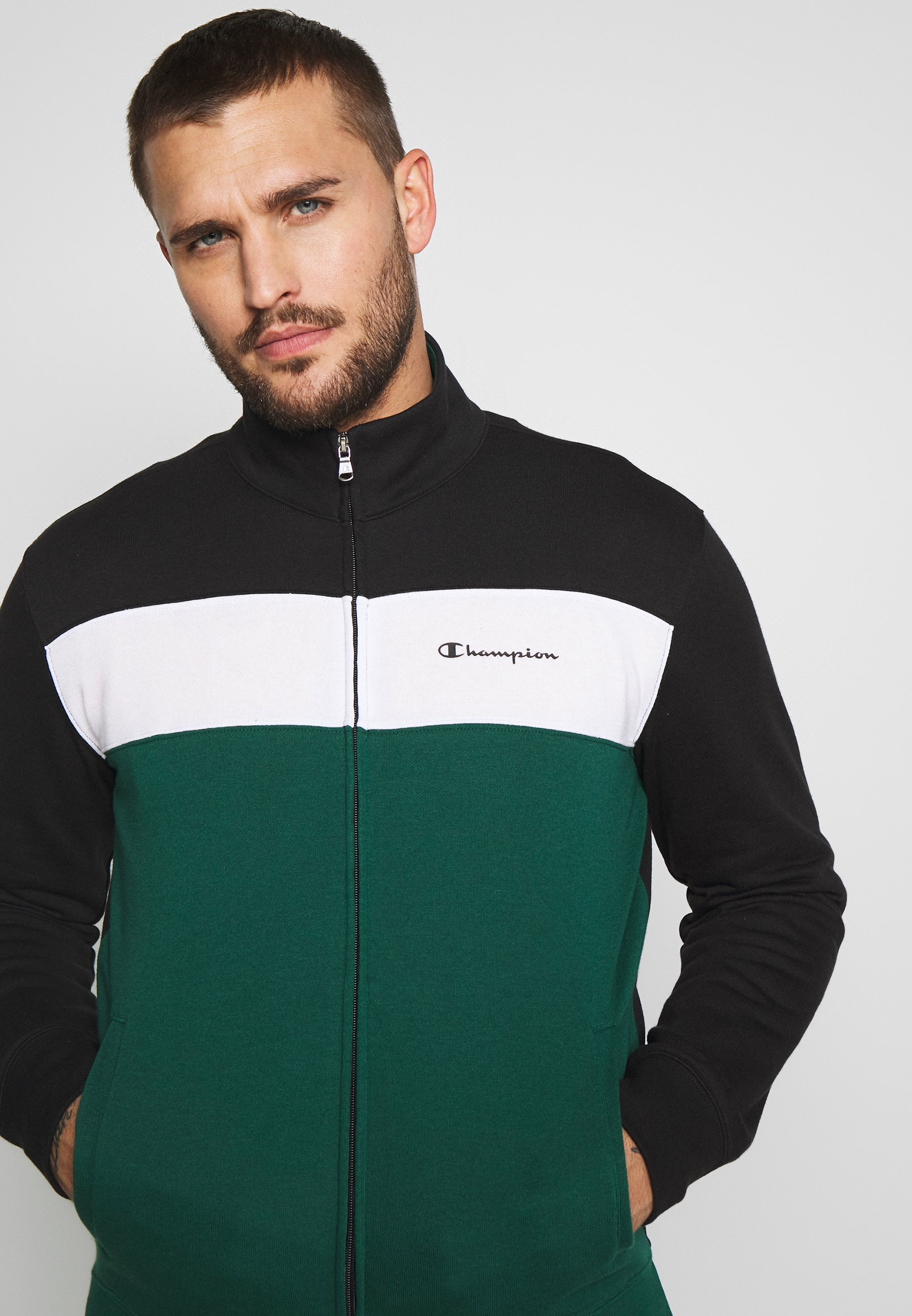 Champion FULL ZIP SUIT - Survêtement - black/green/white