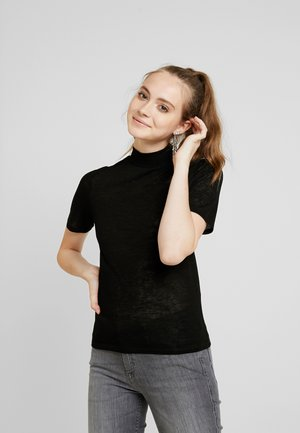 OBJTESSI HIGH NECK - Basic T-shirt - black