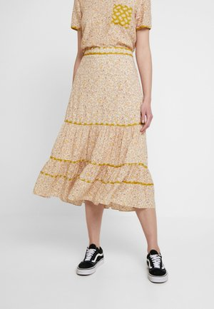 TIERED SKIRT BINDING LAWN PRINT MIX - Áčková sukně - beige