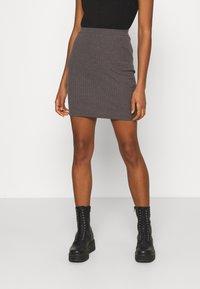 Even&Odd - Basic mini ribbed skirt - Falda de tubo - mottled dark grey - 0