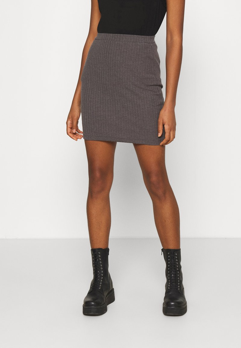 Even&Odd - Basic mini ribbed skirt - Falda de tubo - mottled dark grey