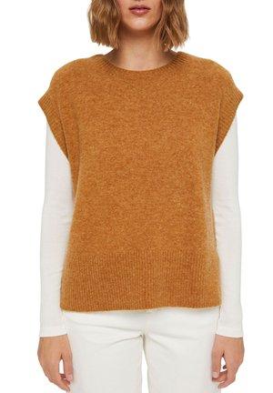 MIT HIGH LOW SAUM - Basic T-shirt - camel