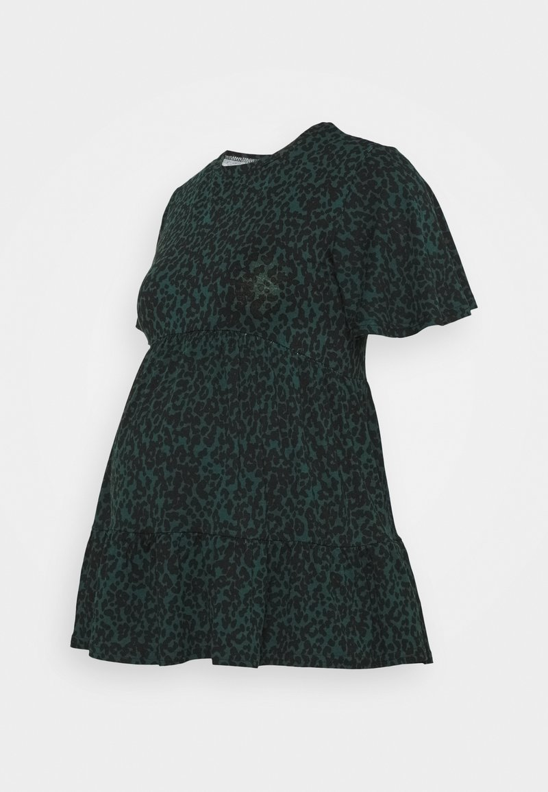New Look Maternity - PRINTED TIER PEPLUM - Žerzejové šaty - green pattern