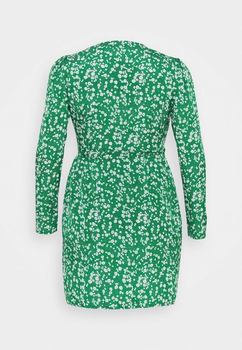 Missguided Plus - PRINTED WRAP MINI DRESS - Day dress - green