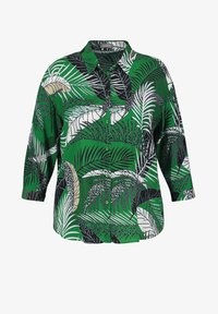 Samoon - Button-down blouse - leaves green gemustert - 0