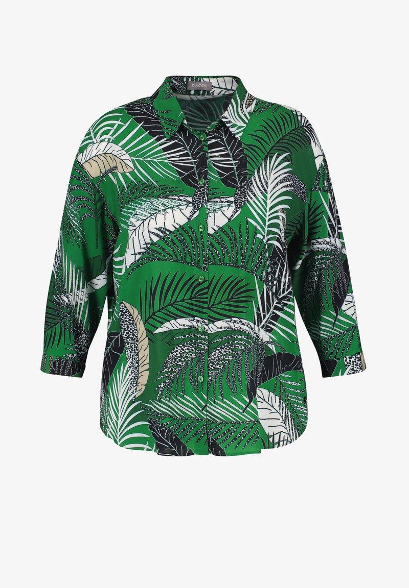 Samoon - Button-down blouse - leaves green gemustert