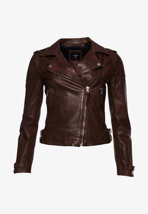 ESSENTIALS  - Leather jacket - mocha brown