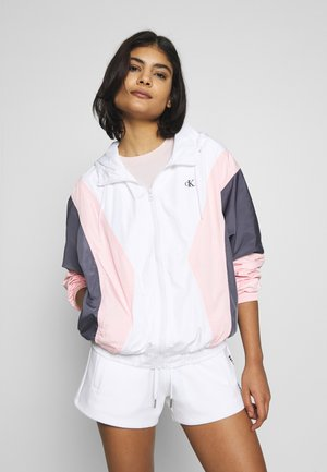 COLOR BLOCKING WINDBREAKER - Summer jacket - bright white / keepsake pink