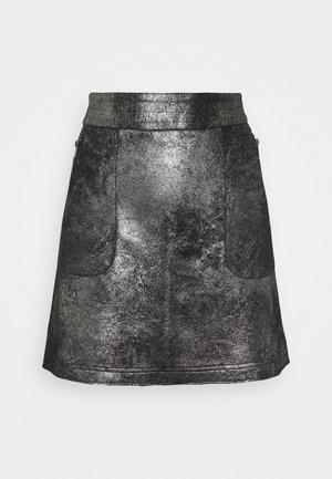 VIMALLIES SHORT FOIL SKIRT - Mini skirt - black/trim gun