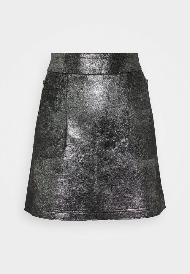 VIMALLIES SHORT FOIL SKIRT - Minijupe - black/trim gun