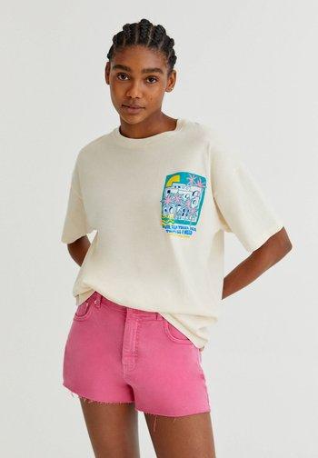 MIT PALMENGRAFIK - Print T-shirt - beige