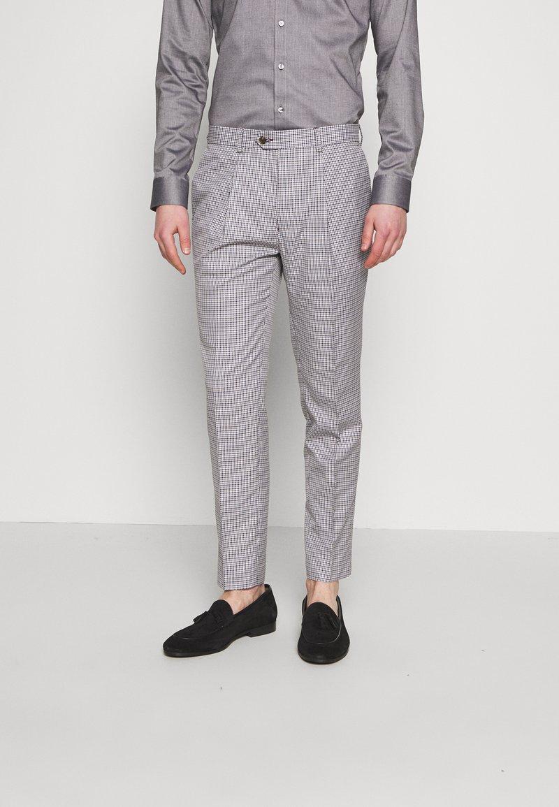 1904 - POULSDEN TAPERED GINGHAM - Pantalon de costume - blue