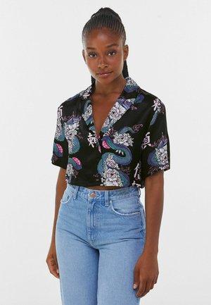 MIT DRACHENPRINT - Button-down blouse - black