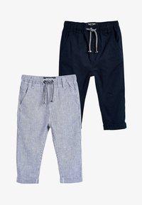 Next - STRIPE/PLAIN 2 PACK LINEN BLEND TROUSERS (3MTHS-7YRS) - Teplákové kalhoty - blue - 0