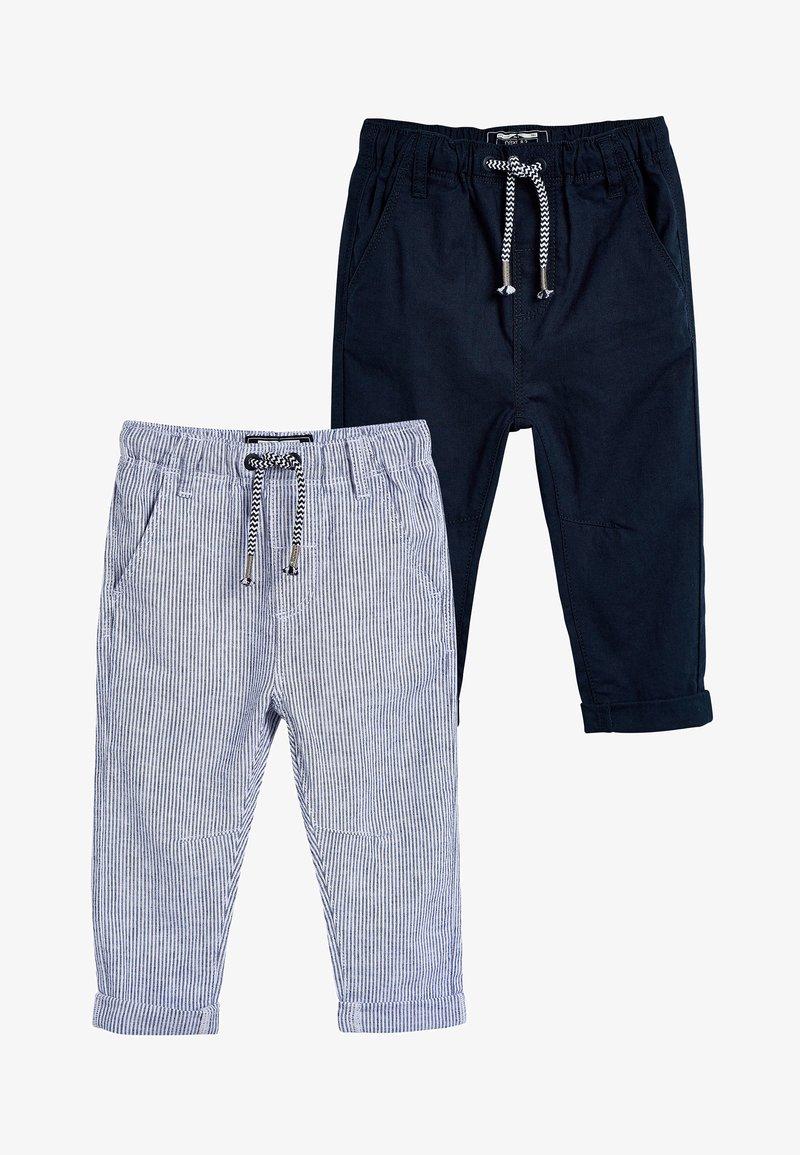 Next - STRIPE/PLAIN 2 PACK LINEN BLEND TROUSERS (3MTHS-7YRS) - Teplákové kalhoty - blue