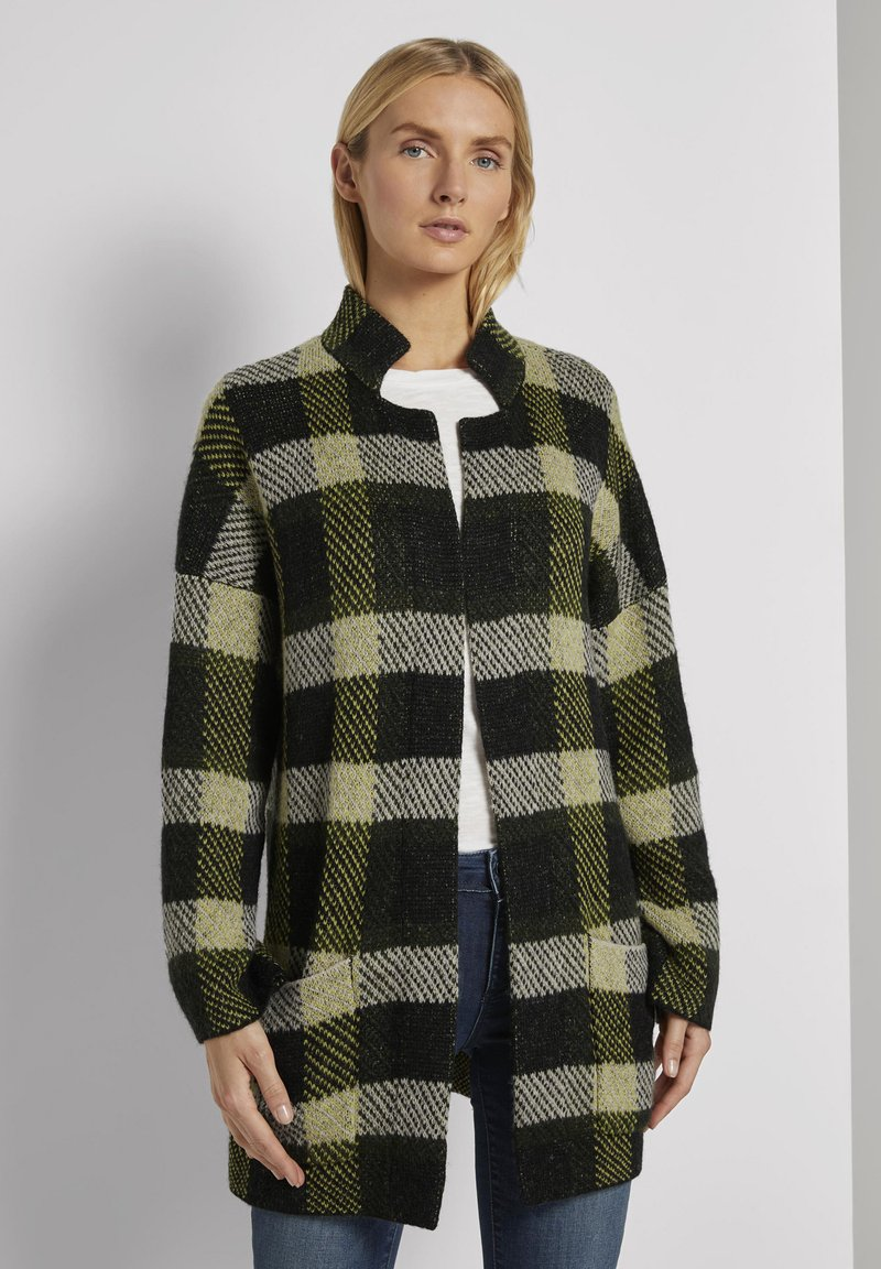TOM TAILOR - Cardigan - black yellow check knitted