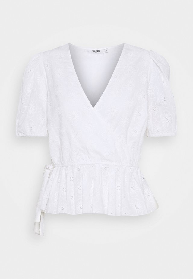 EMBROIDERED OVERLAP BLOUSE - Blouse - white