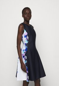 DKNY - FIT AND FLARE - Jersey dress - navy/cream/multi - 0