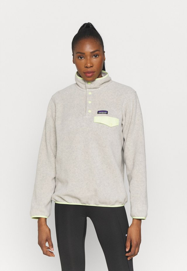SYNCH SNAP - Fleece trui - oatmeal heather/jellyfish yellow