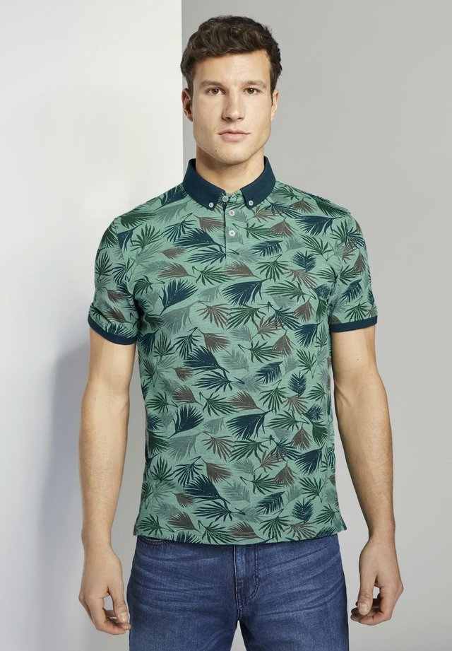TOM TAILOR POLOSHIRTS POLOSHIRT MIT ALLOVER-PRINT - Polo - small palm tree leaf design
