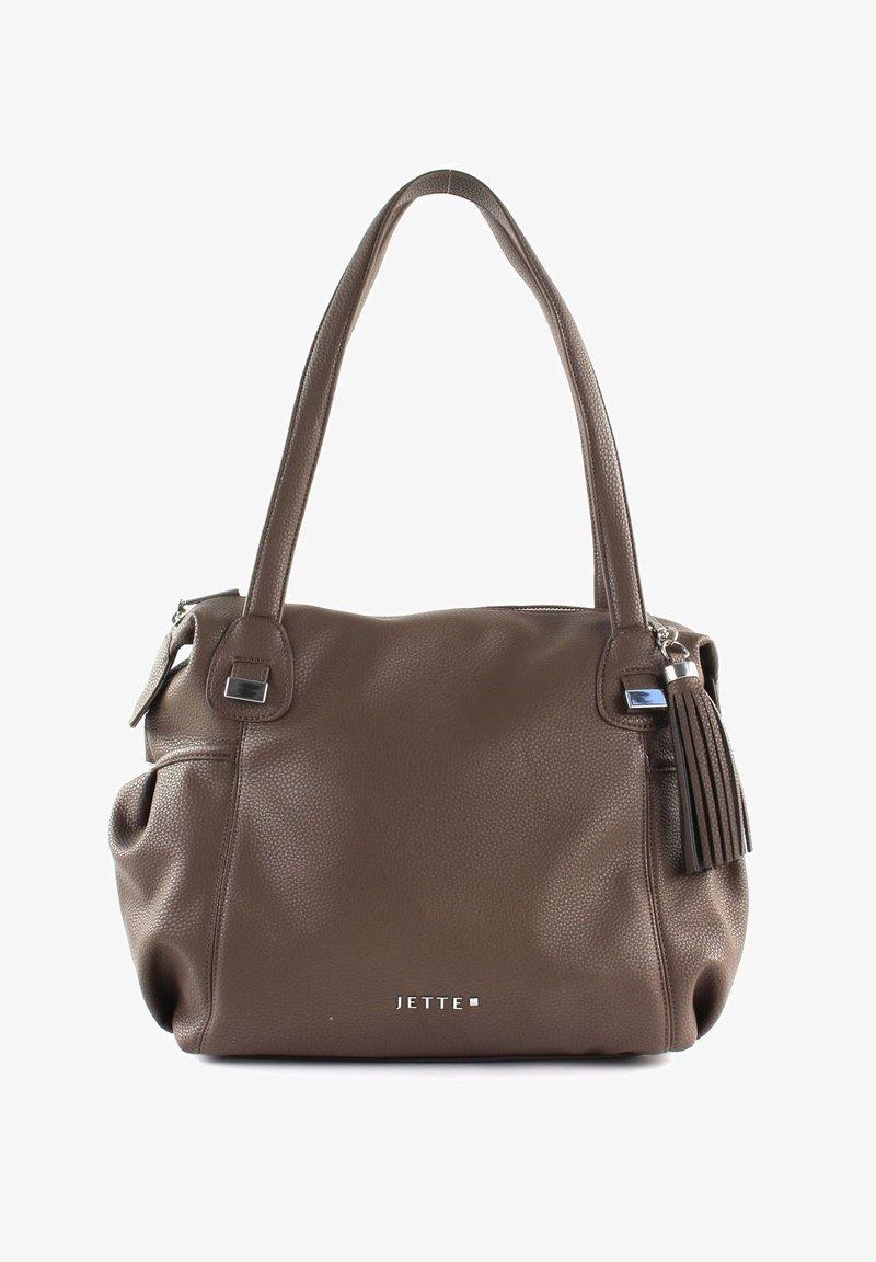 JETTE - Handbag - truffle / shiny silver
