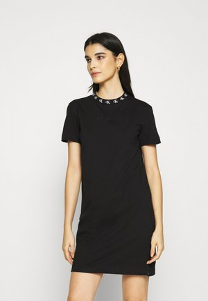 LOGO TRIM DRESS - Jersey dress - black