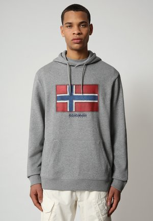 BIROL HOOD - Luvtröja - medium grey melange