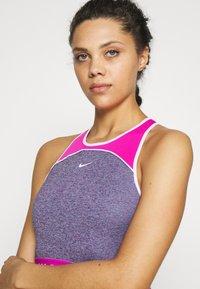 Nike Performance - DRY TANK CROP SPACE DYE - Tekninen urheilupaita - cerulean/fire pink/white - 3