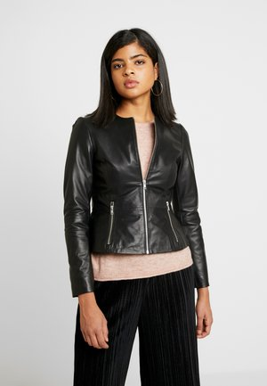 ONLLENA JACKET PEPLUM - Leather jacket - black