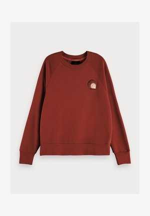 TEXTURED LONG SLEEVE ARTWORK SWEATER - Sweater - island brown