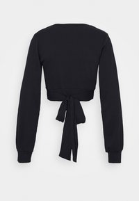 Glamorous - PLUNGE TIE WAIST LONG SLEEVE CROP - T-shirt à manches longues - navy - 1