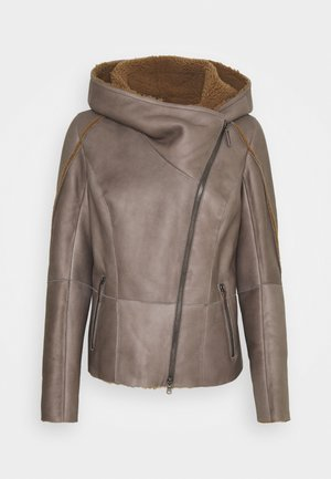 MERINILLO - Leather jacket - tabacco/elephant