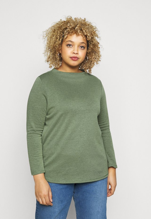 DOUBLE FACE TURTLE - Long sleeved top - greyish/green melange