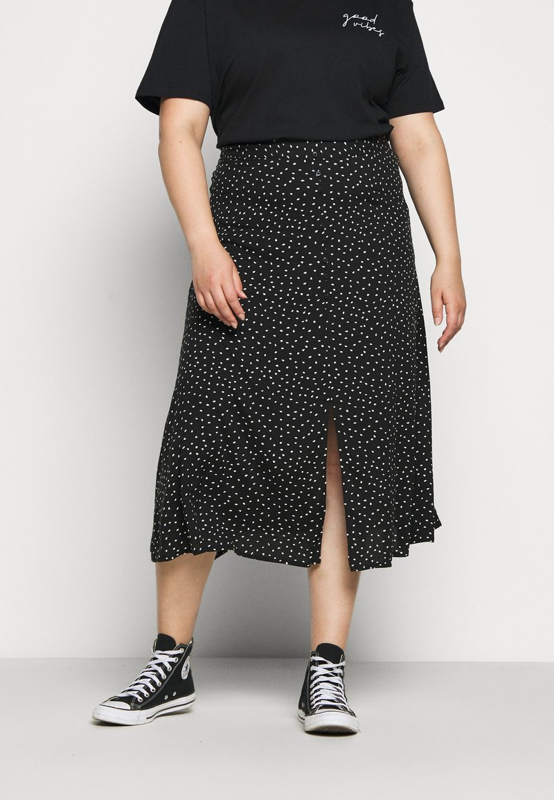 ONLY Carmakoma - CARLOLA LONG  - A-line skirt - black/white