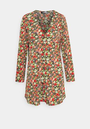 SMOCK DRESS FLORAL - Shirt dress - black
