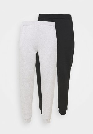 2er PACK - REGULAR FIT JOGGERS - Tracksuit bottoms - black/light grey