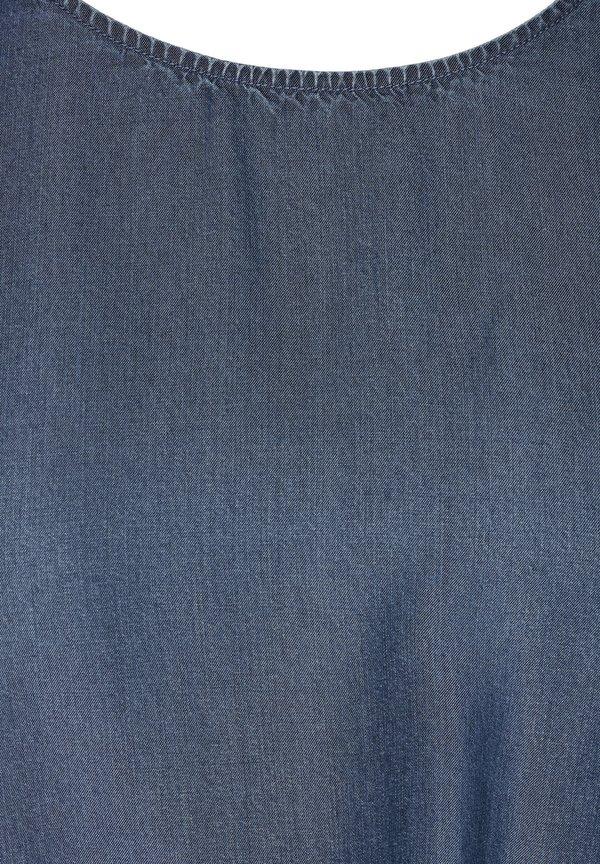 Zizzi MIT KURZEN ÄRMELN - Bluzka - blue/niebieski CEVB