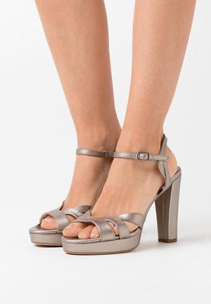 High heeled sandals - gunmetal