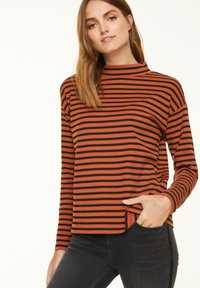 comma casual identity - Long sleeved top - cognac stripes - 0