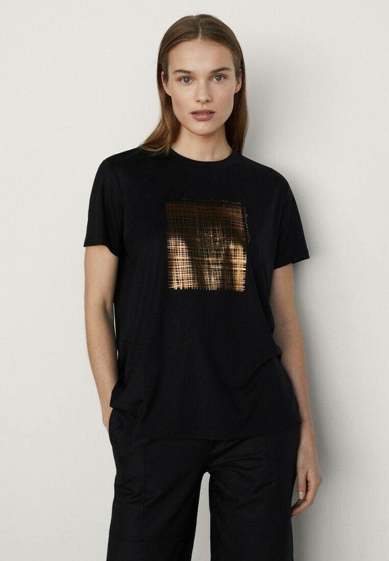 Massimo Dutti - T-shirt imprimé - black