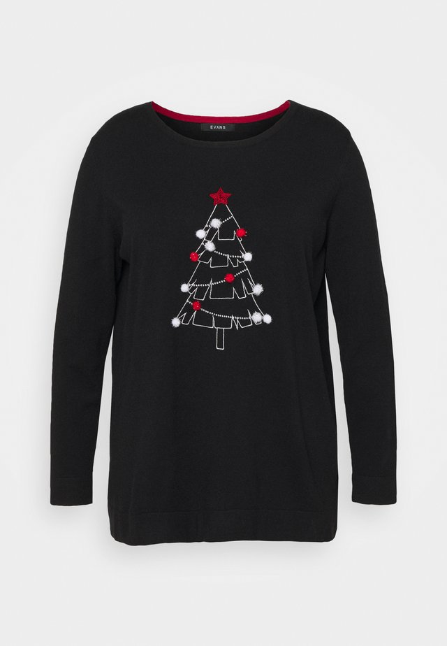 CHRISTMAS TREE JUMPER - Neule - black