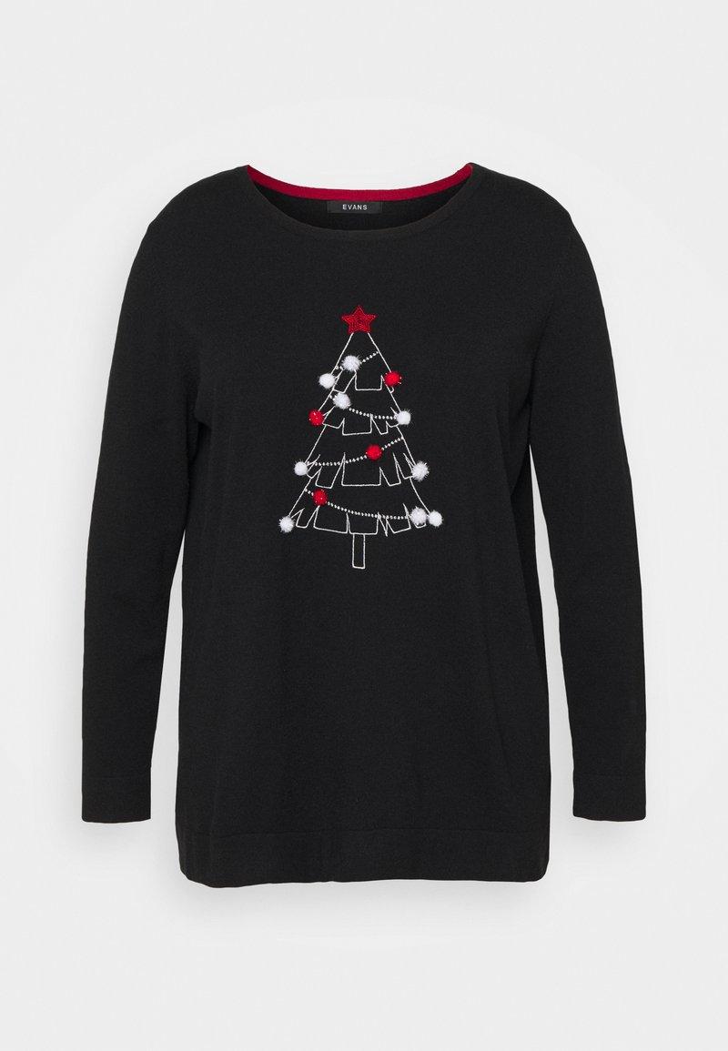 Evans - CHRISTMAS TREE JUMPER - Jumper - black