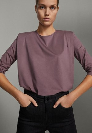 SHIRT AUS REINER BAUMWOLLE MIT ZIERFALTEN - Long sleeved top - dark purple