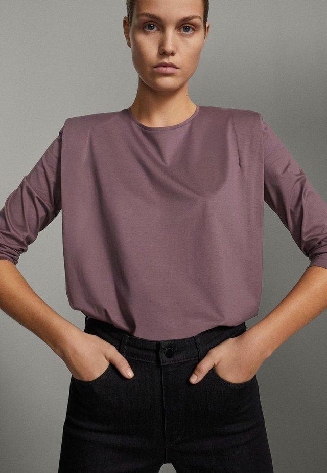 SHIRT AUS REINER BAUMWOLLE MIT ZIERFALTEN - Long sleeved top - dark purple
