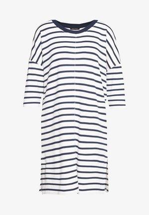 DRESS 3/4 SLEEVE ROUND NECK STRIPED - Day dress - white
